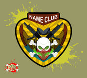 Paintball team logo and emblem. scary skull  in paintball  mask Royalty Free Stock Photo