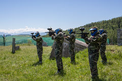 Paintball Team Players Ready to Fight. War Game Paintball Team Players With Camouflage Equipment Royalty Free Stock Photo