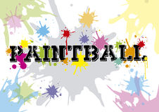 Paintball. Text. White background. Colorful. Blue, red, yellow and orange colors. 2d design Royalty Free Stock Photo