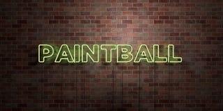PAINTBALL - tube au néon fluorescent connectez-vous la brique - vue de face - photo courante gratuite de redevance rendue par 3D illustration de vecteur