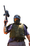 Paintball Warrior - Isolated. Paintball warrior in a fighter stand and color all over hist mask Stock Photos