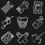 Paintball white line icons Stock Photos