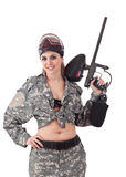 Paintball woman Stock Photo