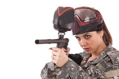 Paintball woman Stock Images