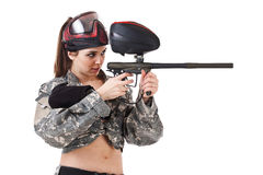 Paintball woman Stock Image