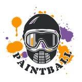 Paintballemblem - Masken- und Farbenflecken Stockfoto