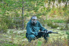 Paintballer during the game Stock Images