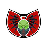 Paintballlogo Militärt emblem Armétecken Skalle i skyddande Arkivfoto