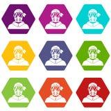 Paintballspeler die de beschermende vastgestelde kleur van het maskerpictogram hexahedron dragen Stock Foto's