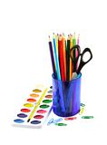 Paintbox and colored pencils Stock Photo