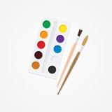 Paintbox e spazzola Concetto creativo dell'acquerello Pitture per disegnare Immagine Stock Libera da Diritti