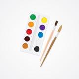 Paintbox och borste Idérikt begrepp för vattenfärg Målarfärger för att dra Royaltyfri Bild