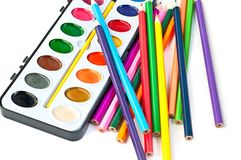 Paintbox with pencils Royalty Free Stock Photo