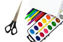 Paintbox und Scheren Stockfotografie