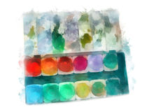 Paintbox watercolor painting Stock Photography