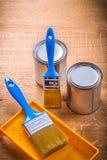 2 paintbruses и могут поднос Стоковое Изображение RF