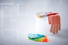 Paintbrush, бак краски, перчатки и образцы pantone Стоковая Фотография