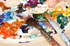 2 paintbrush и ходы из красок масла Стоковое Изображение RF