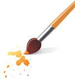 Paintbrush. And splash over white background royalty free illustration