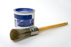 Paintbrush. Brush and bucket stock photo