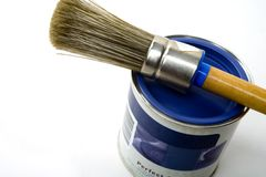 Paintbrush. Brush on top of can royalty free stock photo