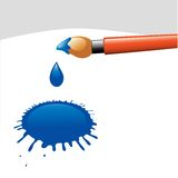 Paintbrush. Artist's paintbrush and blue ink blot, vector illustration Royalty Free Stock Photos