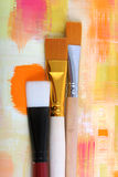 Paintbrush. New paintbrushes on painted background royalty free stock photos