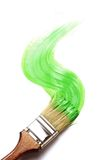Paintbrush. With fresh green paint on white background. painting tools royalty free stock images