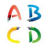 Paintbrush alphabet letters. Set of four different colored alphabet letters painted with brush, white background Stock Photography