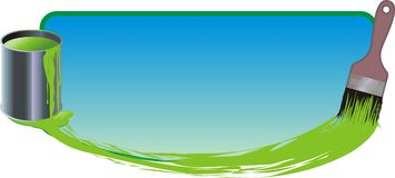Painting. Brush and can with green paint on blue Royalty Free Stock Images