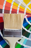 Paintbrush with card of colors Stock Photography