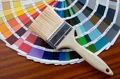 Paintbrush with card of colors. Photo of Paintbrush with card of colors royalty free stock photo