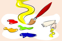 Paintbrush and color Stock Images