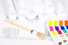 Paintbrush and color guide Stock Photo