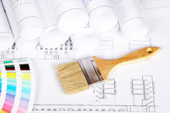 Paintbrush and color guide Royalty Free Stock Photo