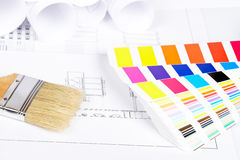 Paintbrush and color guide Royalty Free Stock Images