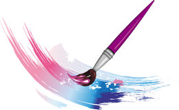 Paintbrush with color paint splashes Royalty Free Stock Images