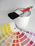 Paintbrush and colour swatch. Paintbrush and colour samples Stock Photo