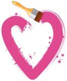 Paintbrush drawing pink heart Stock Photos