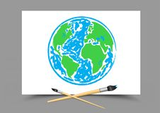 Drawing Earth on white paper Royalty Free Stock Photography