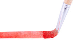 The paintbrush drawing red line Royalty Free Stock Images