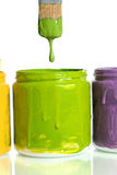 Paintbrush Dripping Green Paint Royalty Free Stock Images