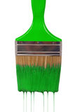 A paintbrush dripping with green paint Royalty Free Stock Photography