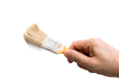 Paintbrush in Hand Royalty Free Stock Photography