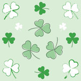 Paintbrush and hand-drawn shamrocks Royalty Free Stock Photo
