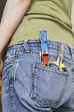 Paintbrush And Hand Tools In Back Denim Jeans Pocket Royalty Free Stock Photo