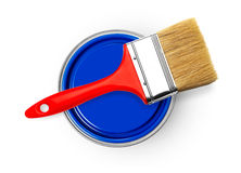 Paintbrush i farby puszki Fotografia Royalty Free