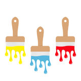 Paintbrush icon set. Blue, yellow, red color drops. Flowing down dripping paint. Flat design Decoration element. White background. Royalty Free Stock Photo