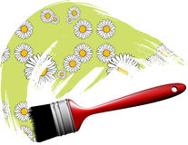 Paintbrush making flower pattern Royalty Free Stock Images