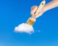 Paintbrush maluje osamotnioną białą małą chmurę Fotografia Royalty Free